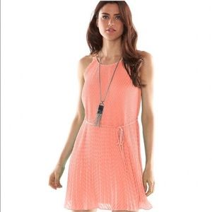 Elle Pink Pleated Trapeze Dress